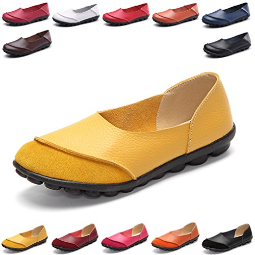 Hishoes Damen Casual Mokassin Leder Loafers Fahren Flache Schuhe 41 EU=Etikettengröße 41