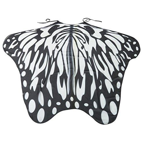 Overdose Frauen 197*125CM Weiche Gewebe Schmetterlings Flügel Schal feenhafte Damen Nymphe Pixie Kostüm Zusatz (197*125CM, X-Schwarz(185*145CM)) (Schwarzer Schmetterling Kostüme)