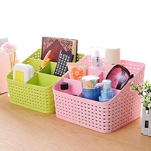 Cf Multi-Purpose Plastic storage Basket Desk Organizer PP Plastic Desktop Storage Box Office Organizer Case Pen Pencil Holder Plastic Cosmetics Make Up Organizer Container Kitchen Bedroom Bathroom storage Box