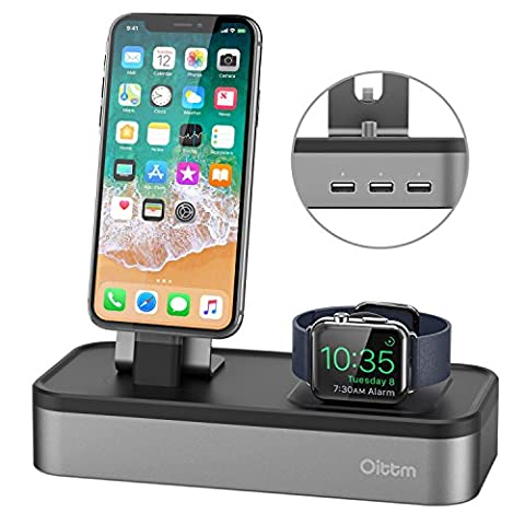 Oittm 5 en 1 Station de Charge pour Apple Watch et iPhone Multi-USB Support pour Apple Watch Series 3/ Apple Watch Series 1/ Apple Watch Series 2 /Apple Watch Nike+ /iPad Mini /Apple Pencil /Siri Remote[Gris]