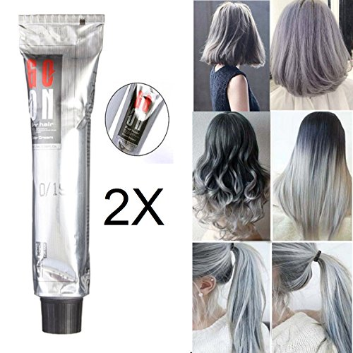 Haarfärbemittel, LuckyFine Haar Wachs Haarcreme 2 Stück x 100ml Haartönung Poly Tönungs Wash Haarfärbung Silver Grey Hair Wax