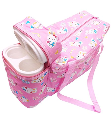 Guru kripa Baby Products™Presents New Born Baby Multipurpose Mother Bag Cum Portable Thermal Warmer Cyan With Holder Dipper Changing Multi Compartment For Baby Care And Maternity Handbag Messenger Bag Diaper Nappy Mama Shoulder Bag Diaper With Warmer Bag With 2 Bottle Holders Keep Baby Bottles Warm With 2 For Baby Multipurpose Waterproof Mother Bag Diaper Bag (Pink)  available at amazon for Rs.574