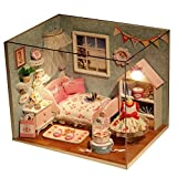 DingLong 3D Holz DIY Spielset, DIY House - Kreative Geburtstag Weihnachtsgeschenk für Kinder und Frauen - Handgemachte Miniatur Puppenhaus