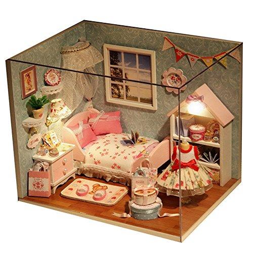 3D Holz DIY Spielset, DingLong DIY House - Kreative Geburtstag Weihnachtsgeschenk für Kinder und Frauen - Handgemachte Miniatur Puppenhaus (Aus Puppenhaus-bausätze Holz)