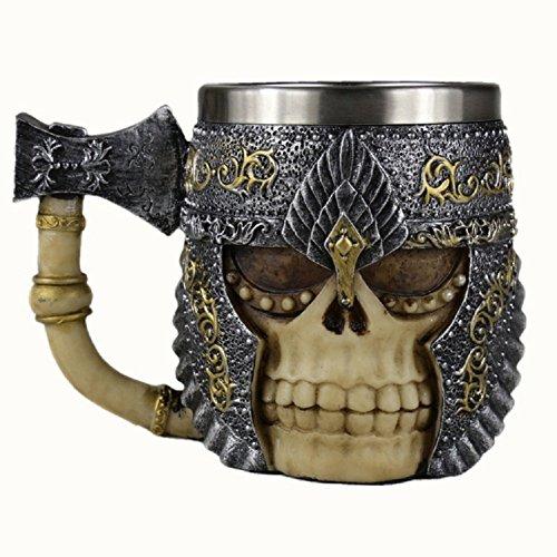 YNXing Der maskierte Ritter im Mittelalter axt Totenkopf Retro - Stil/Für die Feiertage Geschenke Oder BAR/8.3*8.3*15cm (Ax cup)
