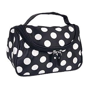 Black Zipper Bag Cosmetic Toiletry Bag Makeup bag Handbag with Points pattern.