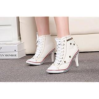 87f3e84cc0d94f NGRDX G Damen Sneaker Frauen Canvas Schuhe High Heels Nieten Denim Schuhe  Fashion Schuhe High Heels Schuhe