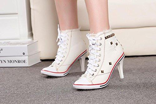 NGRDX&G Damen Sneaker Frauen Canvas Schuhe High Heels Nieten Denim Schuhe Fashion Schuhe High Heels Schuhe, Weiß, 4. - High Heel 4