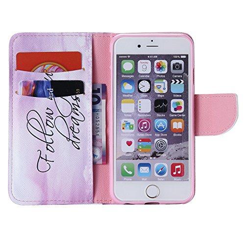 ARTLU® iPhone 6/6S Hülle im Bookstyle PU Leder Flip Wallet Case Schutzhülle für Apple iPhone 6/6S (4.7 Zoll) Tasche Handytasche mit Magnetverschluss Kartenfach Standfunktion Muster Handyhülle- K14 M12