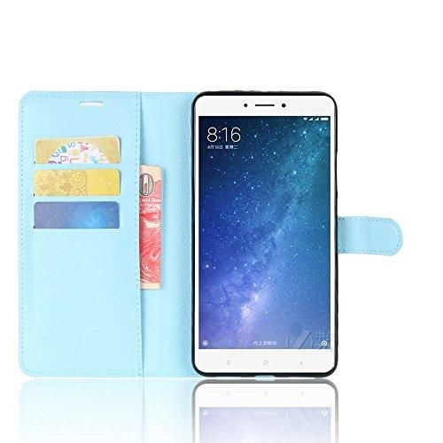 SMTR Xiaomi Mi Max2 Cartera Fundas de PU Cuero Flip, Standing Leather Wallet Case Cover Carcasa Funda con Ranura de Tarjeta Cierre Magnético y función de soporte para Xiaomi Mi Max2, Negro