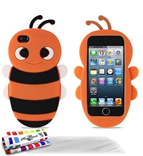 Flip-Case APPLE IPHONE 5 [CroCoChic Premium] [Rosa] von MUZZANO + STIFT und MICROFASERTUCH MUZZANO® GRATIS - Das ULTIMATIVE, ELEGANTE UND LANGLEBIGE Schutz-Case für Ihr APPLE IPHONE 5 Orangefarben + 3 Displayschutzfolien