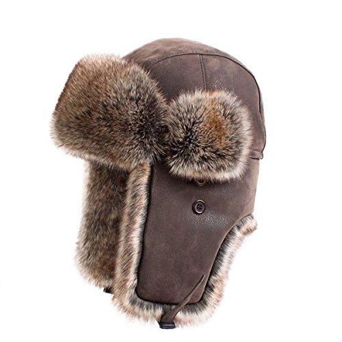 GAZHFERY Unisex Männer Winter Trooper Trapper Jagd Russischen Bomber Hat,Brown-OneSize (Hats Trapper Bomber)