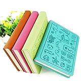 Zhi Jin A6Dick Cute Cartoon Leder pokets Notizbuch Tagebuch Hardcover, liniert, Notizblock Tagebuch Portfolio blau