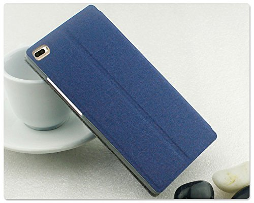 Pudini GoldSand Series Leather Single Window Flip Cover Stand Case for Huawei P8 - Blue  available at amazon for Rs.399