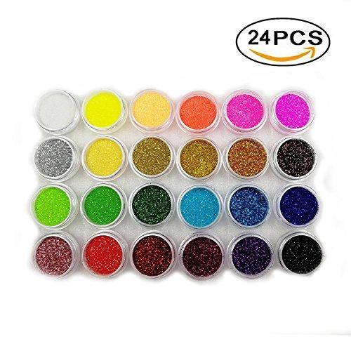 Boocy glitter colorati, in acrilico, per unghie, scatola da 24 colori