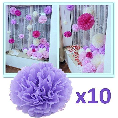 JZK® 10 x Viola pompon carta velina festoni fiori 25 cm, decorazioni festa matrimonio compleanno battesimo comunione nascita laurea Natale Halloween pom pom pon pon