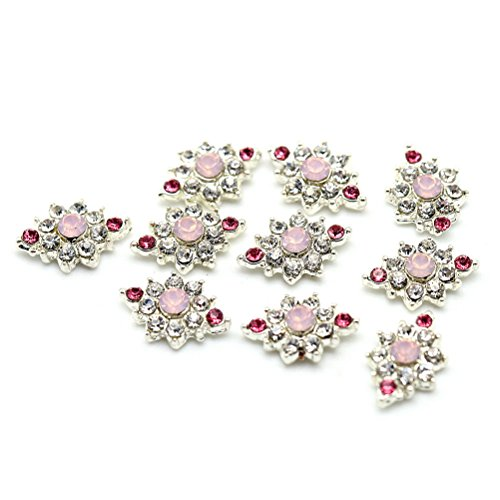 Five Season 10 pcs Bling Decoration Accessoire Nail Art Manucure Diamante Cristal, 1*0.6cm, Argent+Multicolore
