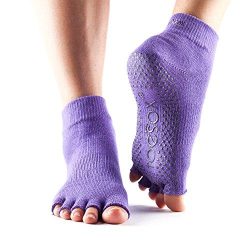 Calcetines ToeSox con media puntera en el tobillo para calcetines de yoga, pilates y barre fitness (Purple, Small)