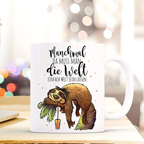 ilka parey wandtattoo-welt® Becher Tasse Kaffeetasse Kaffeebecher Faultier mit Spruch …die Welt einfach mal Welt sein lassen… ts421
