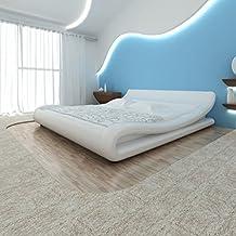 Lingjiushopping Cama con colchón MEMORYFOAM Piel Sintética Blanco 180 x 200 cm Estructura de Cama Color