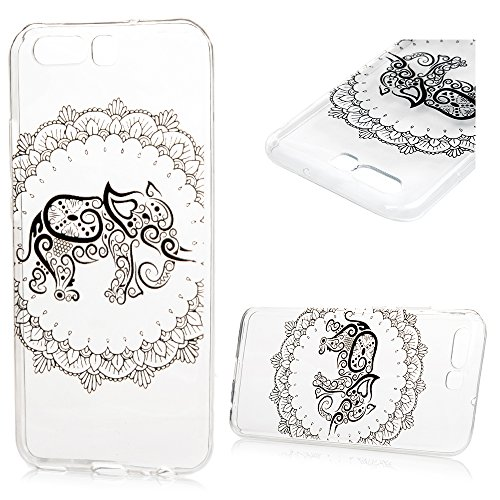 KASOS Huawei P10 Case, [Ultra Thin] Tribe Totem White Elephant Bright Transparent Pattern Cover Soft Flexible [TPU Bumper Silicon Gel ] Perfectly Fit Shell Drop Scratch Shock Protection Skin
