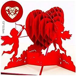 Romántica tarjeta tridimensional de Valentine hecha a mano Corazón de Cupido Día de San Valentín Regalo de cumpleaños, bendición del amor Postal 4 hojas juego