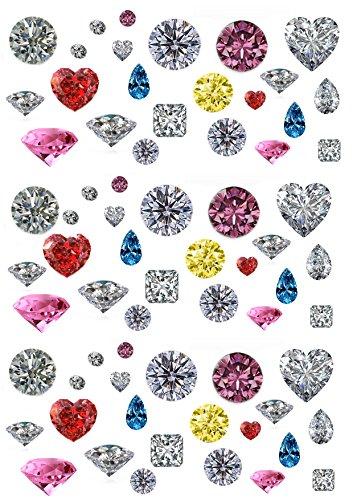 69 & diamants et pierres précieuses dans plusieurs coloris Imprimé sur Papier comestibles Papier Cake Toppers décorations 3 tailles et 4 couleurs