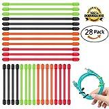 12x 15,2cm + 16x 7,6cm wiederverwendbar Twist Krawatten, aplaygo Gummi Gear Kabelbinder 28PCS (diameter-4mm, 7,6cm und 15,2cm) schwarz, rot, orange, grün