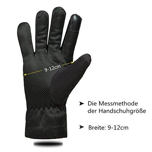 GLOUE Herren Handschuhe Warme Handschuhe Winter Outdoor-Sport Wasserdicht Winddicht Touchscreen Winterfest Rutschfest Abriebfest Fahrrad Motorrad Skilaufen Schwarz - 6