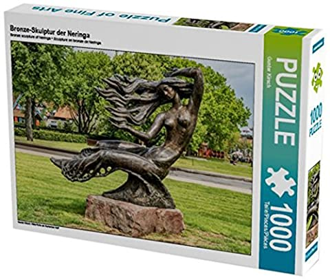 Bronze-Skulptur der Neringa 1000 Teile Puzzle quer: Nida-Perle am Kurischen