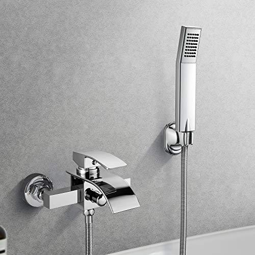 duschgarnitur unterputz BONADE Badewannenarmatur mit brause Duschset Wasserfall Badewanne Wasserhahn inkl, Einhebel-Wannenmischer Duscharmaturen mit Handbrause, Chrom