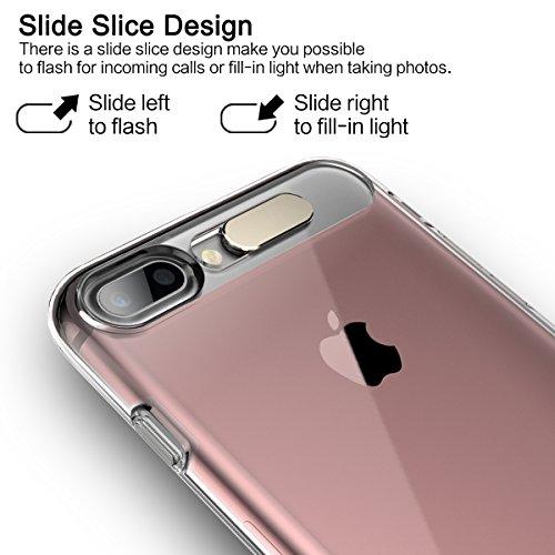 ROCK Flash Light iPhone 8/7 Plus Hülle,Blitzlicht Wenn ein Anruf Eingeht,Klar Transparent PC + TPU Schalen für Apple iPhone 7 Plus(5.5 inch) - Transparent Rosa Transparent Rosa