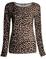 Frauen Lange Hülsen Leopard Tier Druck Dehnbar Top Damen Hemd