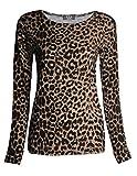 GirlzWalk Frauen Lange Hülsen Leopard Tier Druck Dehnbar Top Damen Hemd