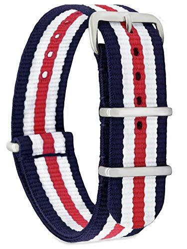 Momento Damen Herren Zulu Nylon Uhren-Armband Ersatz-Uhrband mit Edelstahl-Schliesse in Silber und Blau Weiss Rot Gestreift 22mm Breit