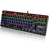 Aula LED-Hintergrundbeleuchtung Wired Mechanische Gaming Tastatur mit Blau Schalter SI-2012 Backlit Black