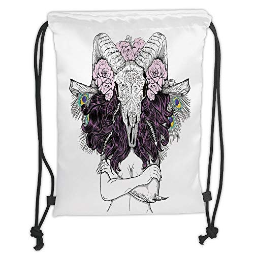 Juzijiang Drawstring Sack Backpacks Bags,Skull Decorationsribal Lady with Horned Goat Head and Peacock Feather Mystic Voodoo Pattern,Multi Soft Satin Closure,,5 Liter Capacity,Adjustable.