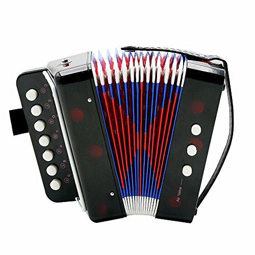 Akkordeon, Mini Kleine Akkordeon Pädagogisches Musikinstrument Rhythm Band für Kinder 7-Key 2 Bass schwarz