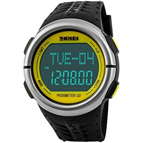 pkaty Unisex Uomo/Donna da Polso luce posteriore a LED Orologi Cardiofrequenzimetro Pedometro Digitale Watch-Yellow