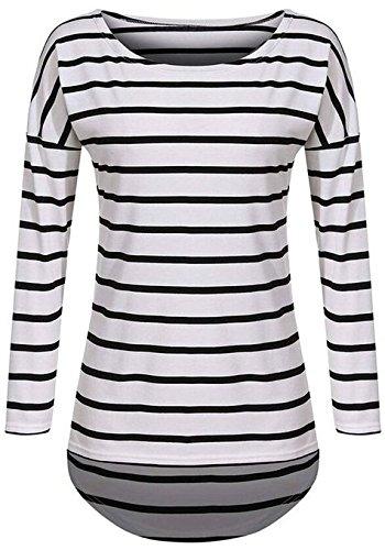Minetom Femmes Décontractée Chemisier Manche Longue Chemises Col Rond Tops Mode Tricots Blanc