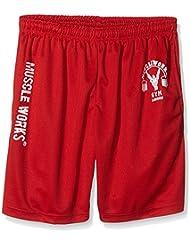 Muscle Fonctionne Gym Fitness pour homme en maille filet Airtex Entraînement MMA Short de Boxe Rouge