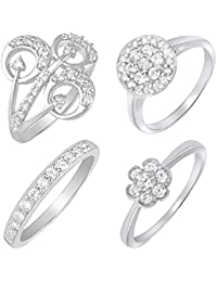 Mahi Rhodium Plated Combo Of Four Finger Rings With CZ For Women CO1104612R