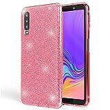 NALIA Hülle kompatibel mit Samsung Galaxy A7 2018, Glitzer Handyhülle Ultra-Slim Silikon-Case Back-Cover Schutzhülle, Glitter Sparkle Handy-Tasche Bumper Dünnes Bling Strass Etui, Farbe:Pink