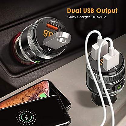 FM-Transmitter-CHGeek-QC30-Bluetooth-FM-Transmitter-KFZ-Auto-Wireless-Radio-Adapter-freisprecheinrichtung-Car-Kit-mit-5V4A-Dual-USB-Auto-Ladegert-LED-Anzeige-USB-Stick-fr-iOS-und-Android-Gerte