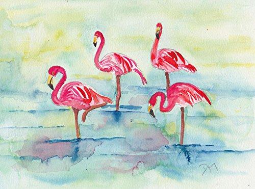 Digitaldruck / Poster Beverly Dyer - Sunset Flamingoes II - 75 x 50cm - Premiumqualität -...