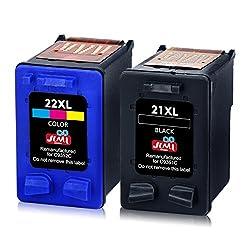 JIMIGO 21XL 22XL Druckerpatronen Remanufactured HP 21 22 Tintenpatronen Kompatibel mit HP Deskjet F380 F4180 F2280 F2180 3940 D1460 D2360 D2460, HP PSC 1410, HP Officejet 4315 (1 Schwarz, 1 Farbe)