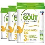 Good Gout - BIO - Lait de Croissance 3eme age de 10 Mois a 3 ans 800 g - Lot de 3