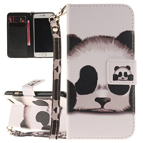 Cover iPhone 6 Plus ISAKEN Drawing Pattern Design Elegante borsa Custodia in Pelle PU per iPhone 6S Plus Sintetica Rigida Case Cover Protettiva Flip Portafoglio Case Cover Protezione Caso con Supporto panda head
