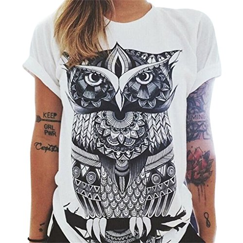 LafyHo Frauen Owl/Briefe/Auge-Druck-T-Shirt Loser Normallack-Rundhalsausschnitt Kurzarm-T-Shirt -