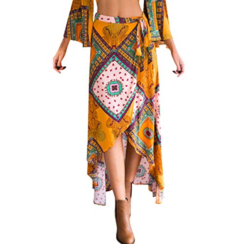Cooljun Womens Boho Hohe Taille Rock Sommer Casual Beach Maxi Langes Kleid Blumenrock